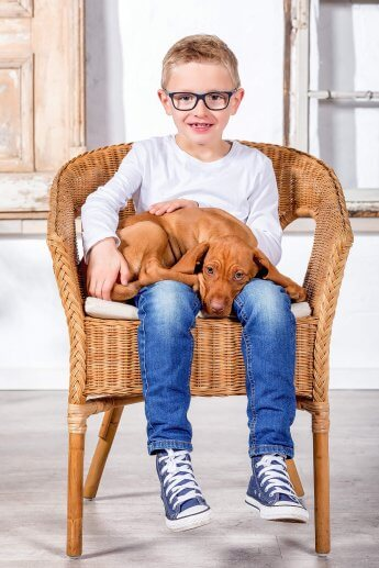 im Fotostudio: Junge auf einem Korbstuhl mit Hund auf dem Schoß