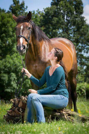 Im besten Licht fotografiert: Junge Reiterin hockt auf Baumstumpf und blickt zu dem neben ihr stehendem Pferd auf