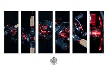 Patchwork aus diversen Produktaufnahmen einer Angelrolle des schwedischen Herstellers Abu Garcia