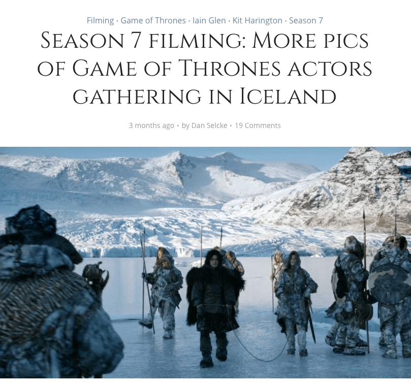 Jokulsarlon als Filmkulisse für Game of Thrones