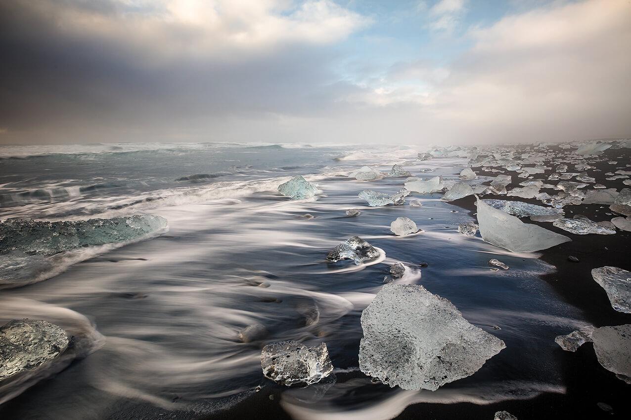 Traum vieler Fotografen: Der Diamond Beach auf Island