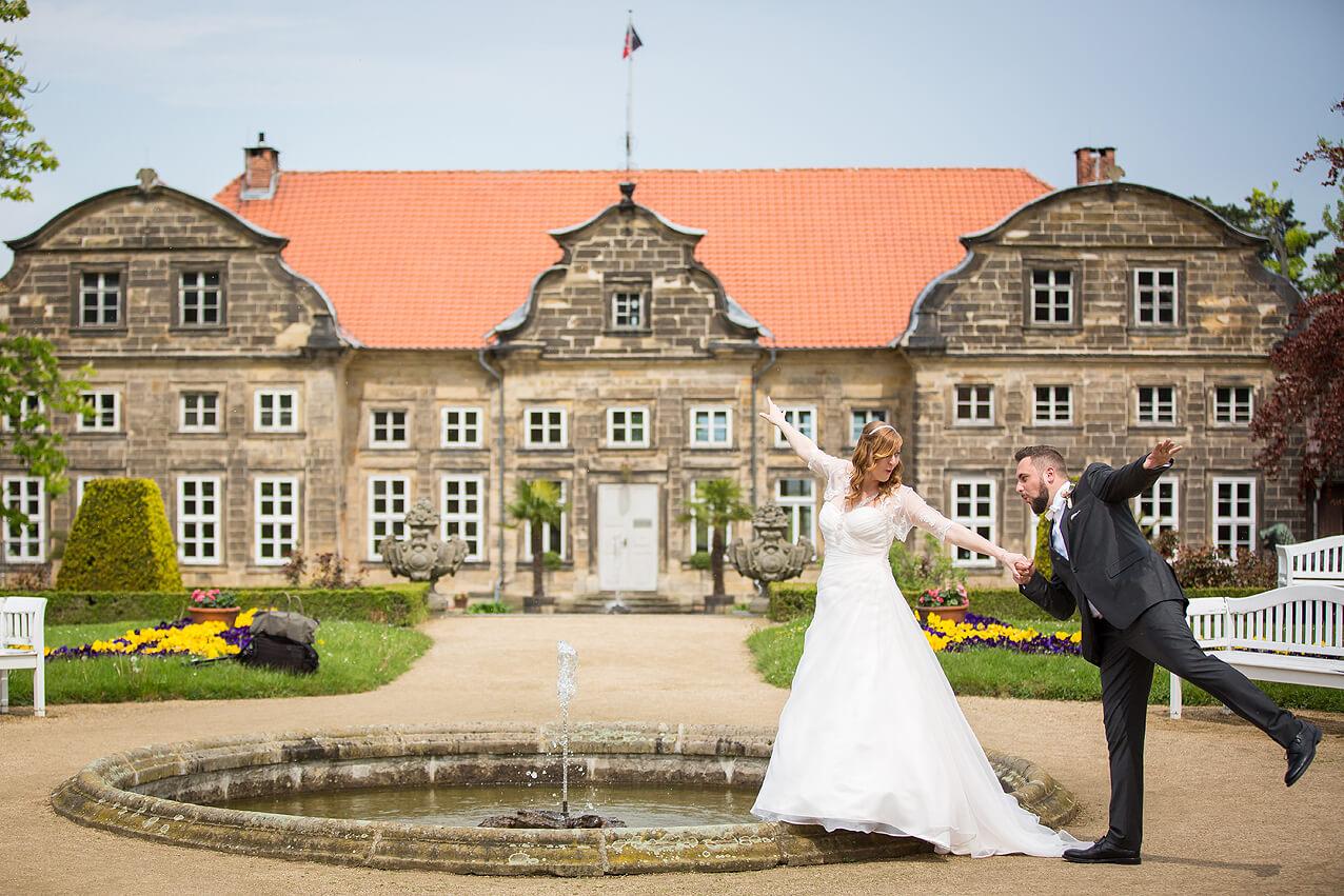 Hochzeitsfoto im Barocken Schlossgarten Blankenburg