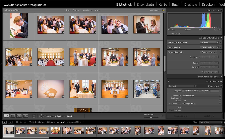 Screenshot Lightroom für Bildbearbeitung von Hochzeitsfotos