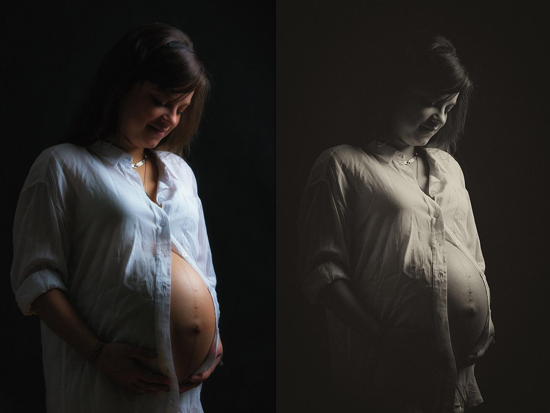 Babybauchfotos im Vergleich Schwarzweiß und Farbe