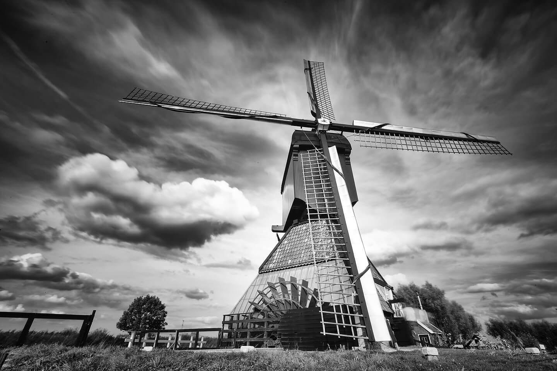 Mit Graufilter in der Schwarzweiss-Fotografie: eine Windmühle in Kinderdijk