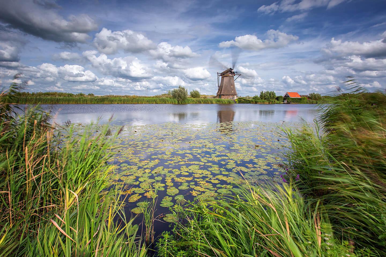 Langzeitbelichtung einer sich drehenden Windmühle