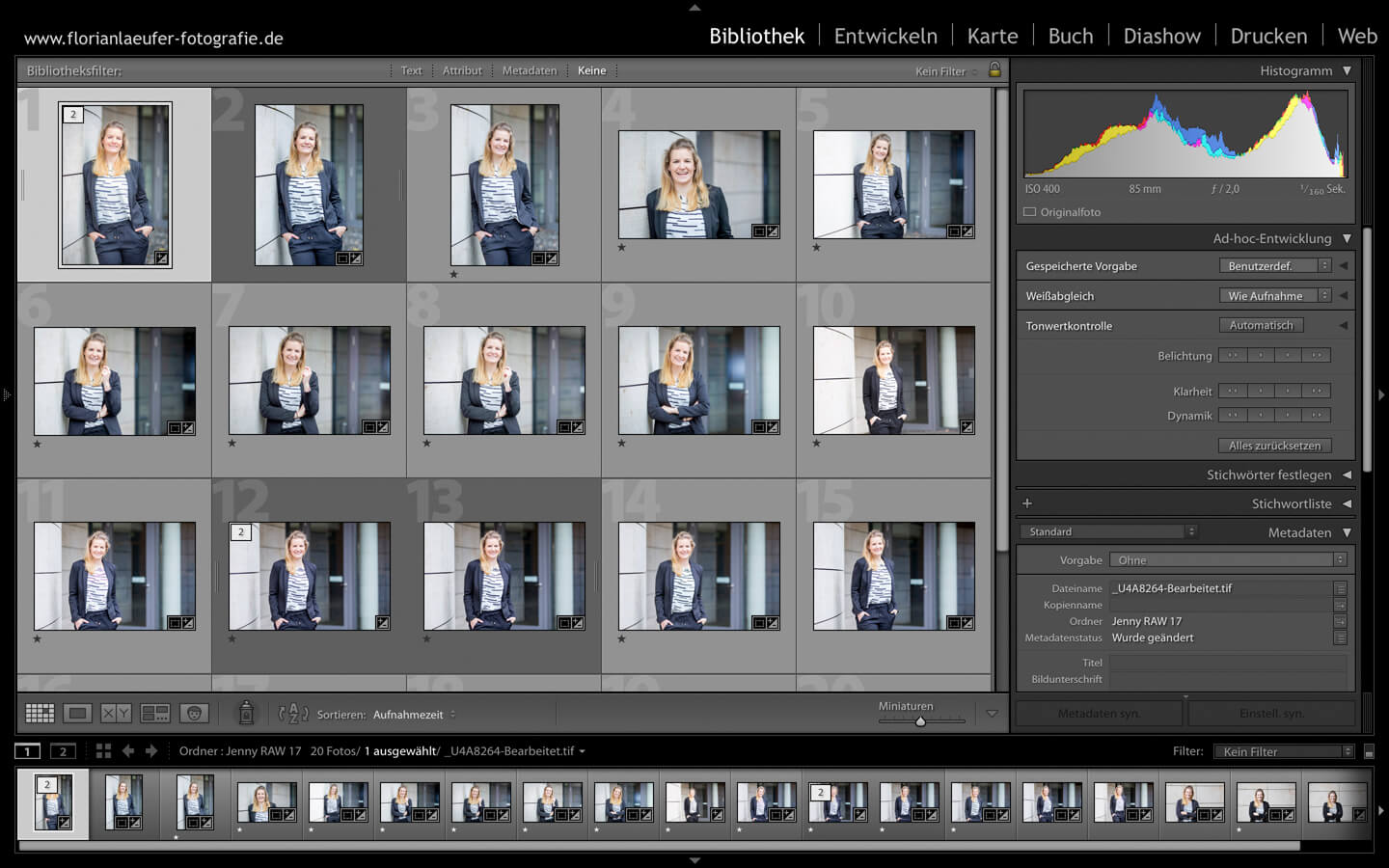 Screenshot Bildbearbeitung mit Lightroom