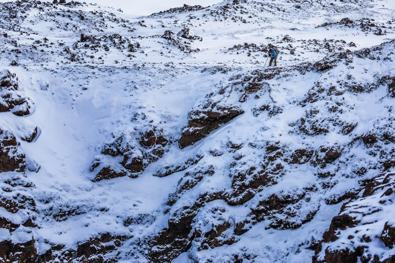 Fotograf am Rand des Aldeyarfoss