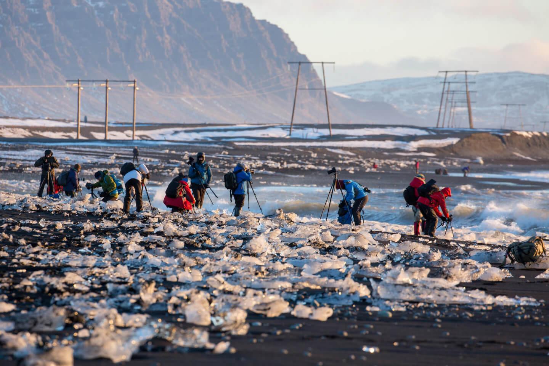 Island im Winter. Der Diamond Beach ist für Fotografen aus aller Welt ein Paradies