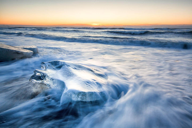 Eisplatte am Diamond Beach von Island