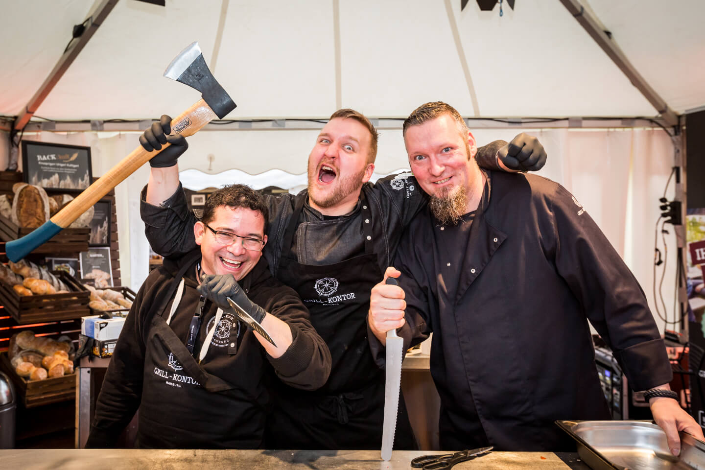 Das Team vom Grill-Kontor Hamburg auf dem Grill & BBQ Court der Internorga
