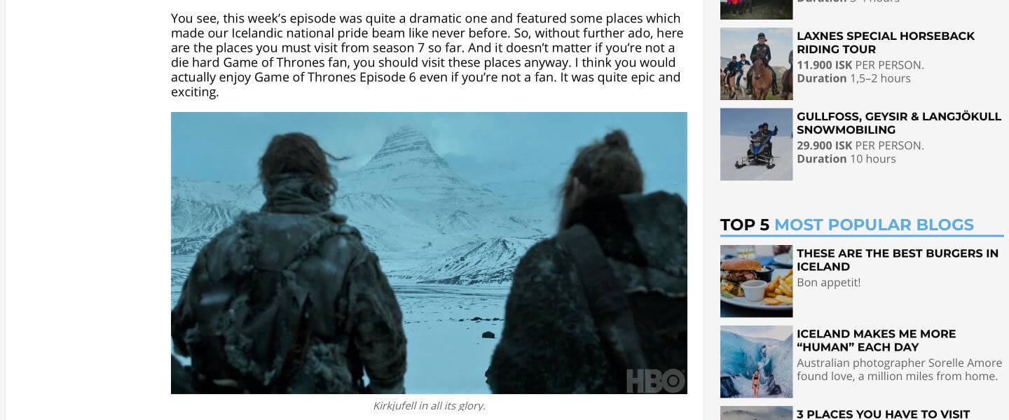 Kirkjufell als Filmlocation von Game of Thrones