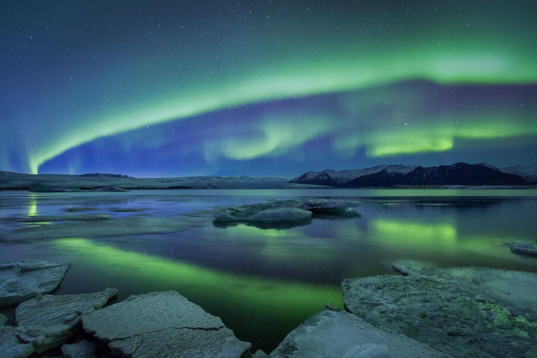 Polarlichter am Jökulsarlon