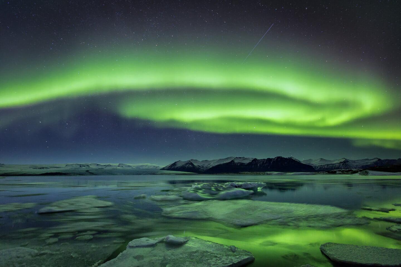 Aurora Borealis im Winter am Jokulsarlon