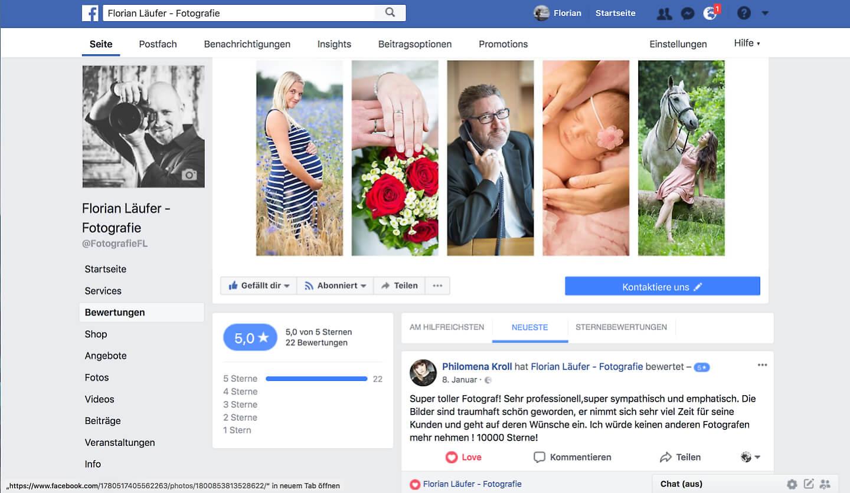 Beste Werbung: 5-Sterne Bewertungen bei Facebook von dem Hamburger Fotografen Florian Läufer (Screenshot)