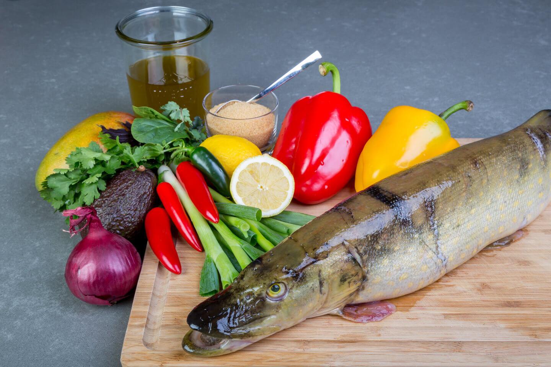 Kochfotos: Die Zutaten des Gerichtes Hecht Ceviche