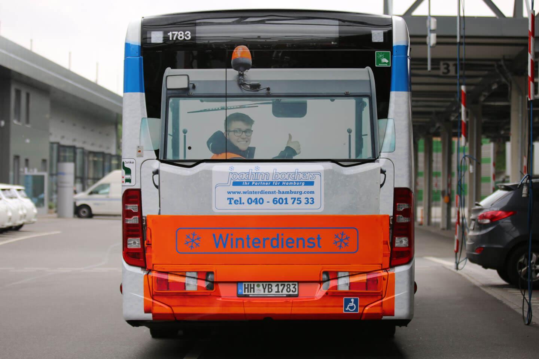 HVV Bus Rückseite mit Bild aus der Unternehmensfotografie von Florian Läufer