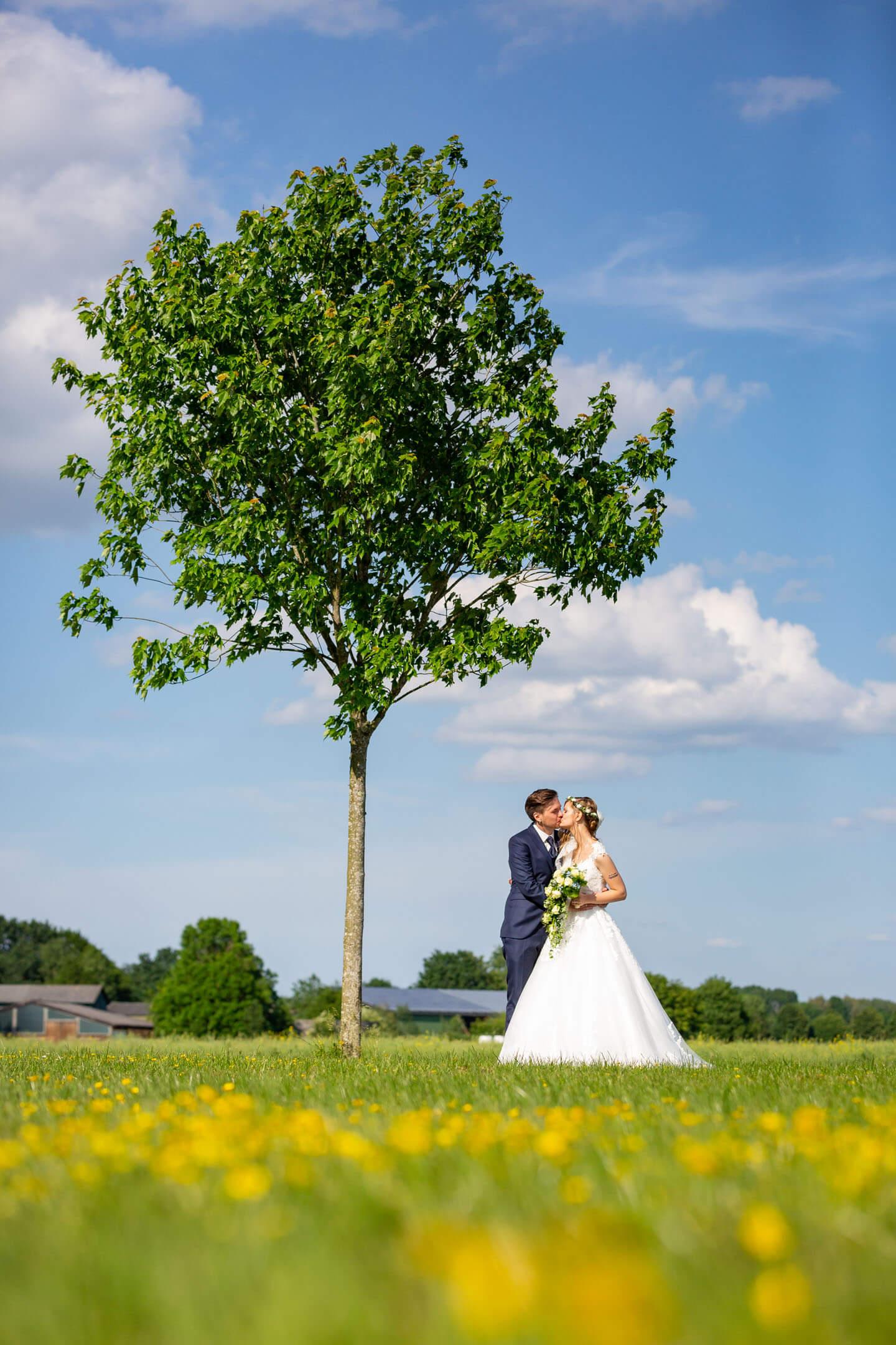 Stimmungsvolles Hochzeitsfoto bei blauem Himmel und Sonnenschein