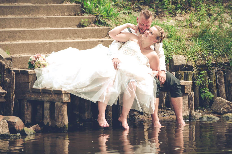 Hochzeitsfoto an der Hudau in Bad Bramstedt