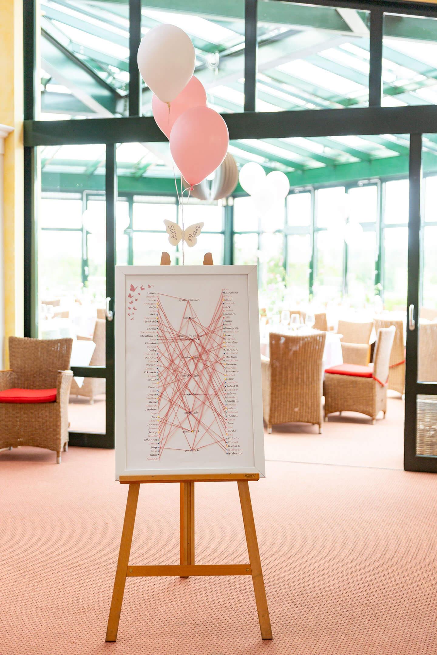 Sitzplan für die Hochzeitsgesellschaft