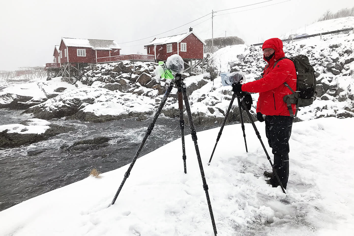 Lofoten fotografieren im Winter. Hier ein Making of in Hamnoy
