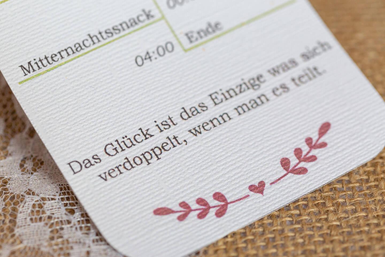 Tischkarte mit Sinnspruch