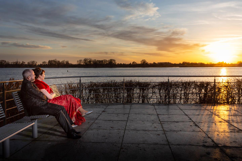 Sonnenuntergang an der Elbe bei Geesthacht