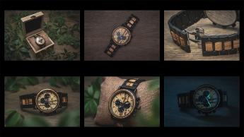 Patchwork aus unterschiedlichen Produktfotos einer Holzuhr