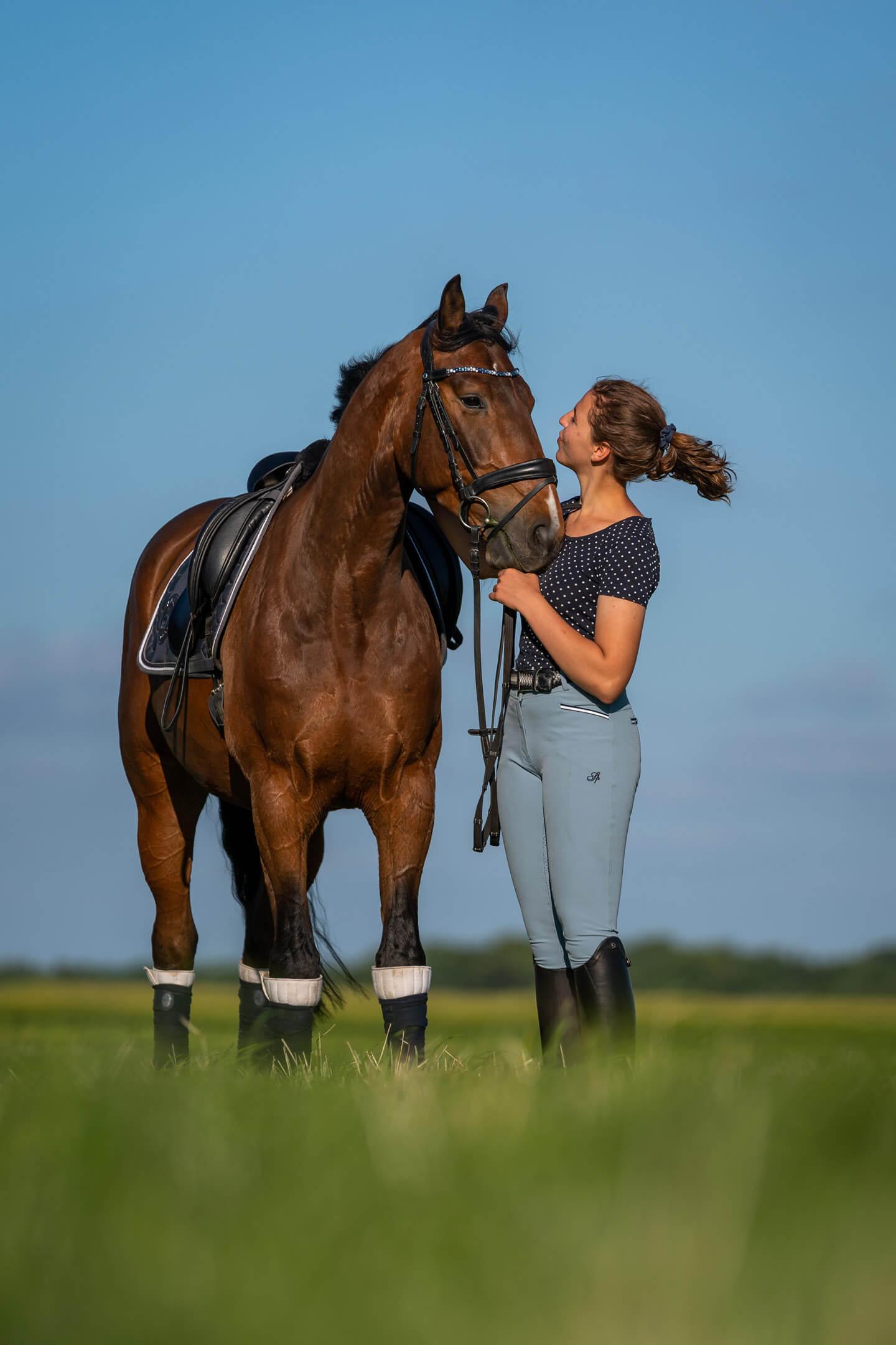 Reiterin und Pferd blicken sich an.